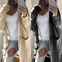 Fashion Solid Color Long Sleeve Front-pocket Loose Knit Cardigan