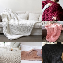 Chic Style Solid Color Thick Wool Hand-woven Blanket