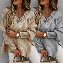Fashion Lace Spliced V-neck Slit Hem Long Sleeve Loose Sweater