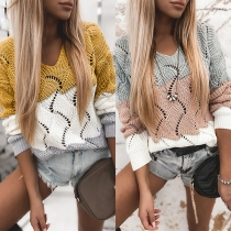 Casual Style Long Sleeve V-neck Contrast Color Sweater