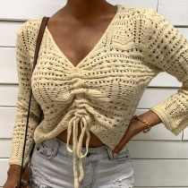 Sexy V-neck Long Sleeve Front-drawstring Solid Color Knit Top