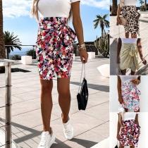 Fashion High Waist Irregular Side Lace-up Printed Skirt