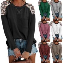 Casual Style Long Sleeve Round Neck Leopard Spliced Loose T-shirt
