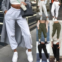 Casual Style Elastic High Waist Solid Color Loose Sports Pants