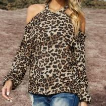 Sexy Off-shoulder Long Sleeve Leopard Print Halter T-shirt