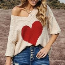 Fashion 3/4 Sleeve V-neck Heart Pattern Loose Knit Top
