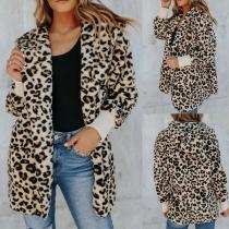 Fashion Long Sleeve Hooded Leopard Print Cardigan