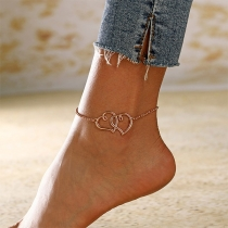Fashion Gold/Silver-tone Dual-heart Pendant Anklet