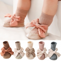 Sweet Style Contrast Color Bow-knot Baby Toddler Foot-gear