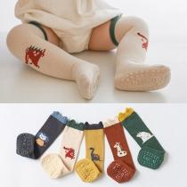 Cute Animal Pattern Contrast Color Anti-slip Over-the-knee Floor Socks