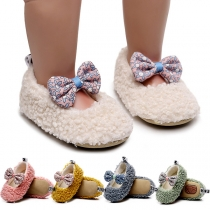 Cute Style Printed Bow-knot Plush Toddler Shoes Girls' Prewalker