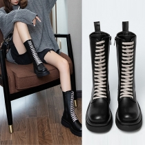 Retro Style Thick-sole Round Toe Lace-up Booties