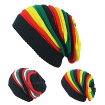 Hip-hop Contrast Color Rainbow Knit Beanies