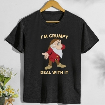 Cute Style Santa Claus Letters Printed Pattern Short Sleeve Round Neck T-shirt