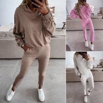 Casual Style Long Sleeve Hooded Sweatshirt + Pants Sports Suit