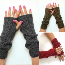 Fashion Solid Color Fingerless Knit Warm Gloves