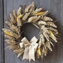 50cm Autumn Harvest Garland Gold Wheat Ears Circle Garland for Wedding Wall Home Thanksgiving Decor