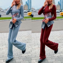 Fashion Solid Color Long Sleeve Crop Top + High Waist Pants Two-piece Set