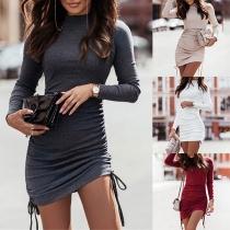 Fashion Solid Color Long Sleeve Mock Neck Side-drawstring Tight Dress