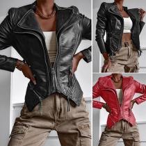 Fashion Long Sleeve Lapel Irregular Hem Slim Fit PU Leather Jacket
