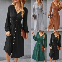 Fashion Solid Color Long Sleeve V-neck High Waist Front-button Dress