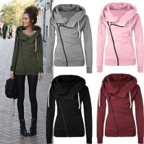 Casual Style 2-side Pockets Lapel Long Sleeve Oblique Zipper Sweatshirt For Women (Size falls small)