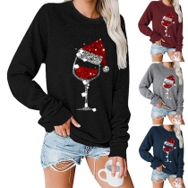 Cute Christmas Printed Long Sleeve Round Neck Top