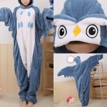 Cute Cartoon Owl Shaped Hooded One-piece Pajamas Sleepwear