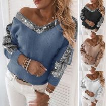 Fashion Sequin Spliced Long Sleeve V-neck Top