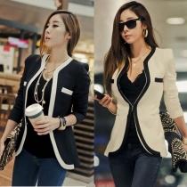 Contrast Color Slim Fit Business Suit Short Jacket Coat